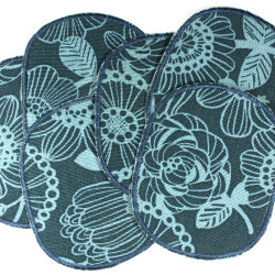 2 iron on patches with floral motifs blue flowers ideal to repair trousers