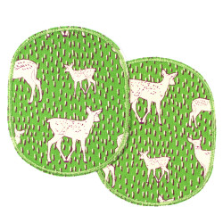 Iron-on patches deer white on green 2 knee patches large 12 x 10 cm to mend