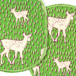 Knee patches with animal motif fawn 2 large patches in a set for children's trousers