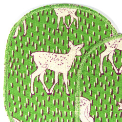 Trouser patches with deer in white on green to cover holes 2 large iron-on patches