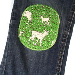 Iron-on repair patches forest animal motif with deer fawns for children