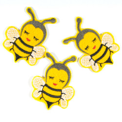Iron-on patches with insect motif Biene Sumsi in small for children