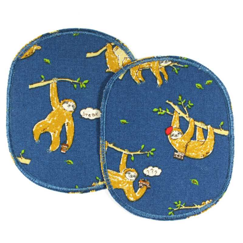 Large iron-on knee patches with cute sloths 2 iron-on patches blue