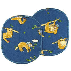 Large patch kit with sloths for children, 2 patches printed in color on blue