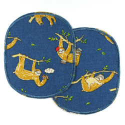 2 patches to iron on with sloth motif on blue for children
