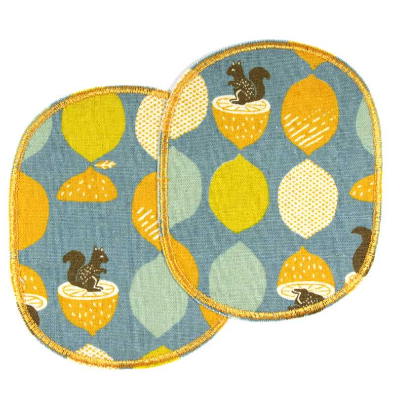 Knee patches 2 in a set with acorns and squirrels on blue