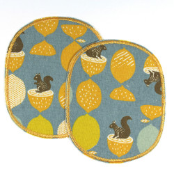 2 iron-on repair patches with squirrels and acorns for children