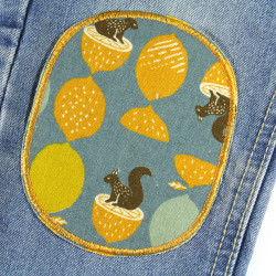 2 iron-on patches with squirrel and acorn motif large iron-on patches to repair trousers
