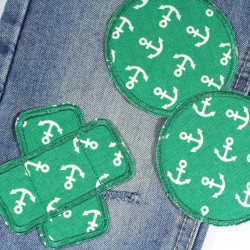 3 textile repair patches as iron-on patches anchors on green for trousers