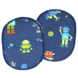 Knee patches with robots between gears and nuts to iron on 2 iron-on patches blue