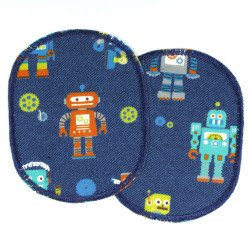 Patch kit with friendly robots for children, 2 patches printed in color on blue