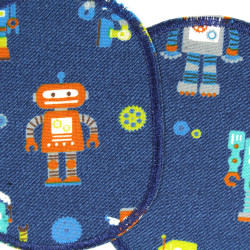Patches 2 in the set robot on blue to iron on trouser patches for boys detail