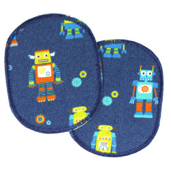 Colorful robots on a blue background, two iron-on patches in a set