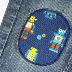 Iron-on patches with robot motif for repairing trousers ideal for the knee 2 pieces