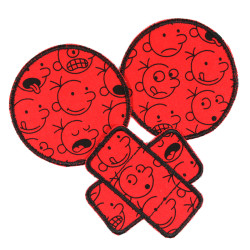 2 round iron-on patches and 1 plaster iron-on patch with comic motif black on red