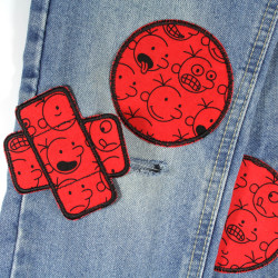 3 textile repair patches as iron-on comic strips for trousers to cover holes
