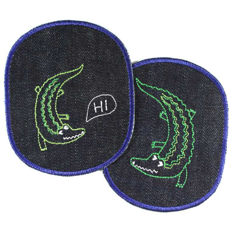 2 iron-on patches for children with crocodile on organic blue jeans