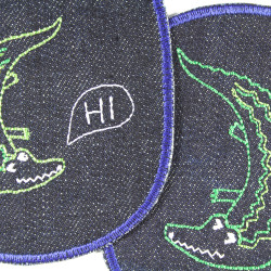 Knee patches for children with crocodiles 2 iron-on trouser patches