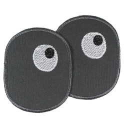 2 iron-on knee patches for children with embroidered eyes
