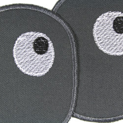 Set with two iron-on eyes on gray organic cotton