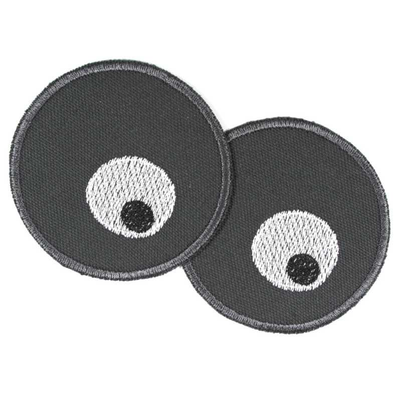 2 round iron-on patches with eyes embroidered on gray organic cotton