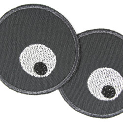 Patch set with 2 round patch eyes in black and white embroidered on gray