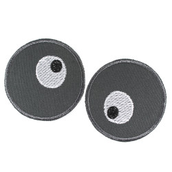 Trouser patches round for children with a funny pair of eyes 2 patches