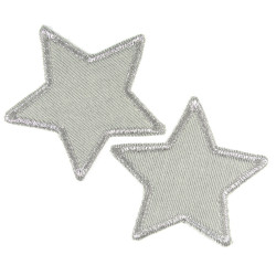 2 patches of small stars silver iron-on patches made of organic cotton with a glittering edge
