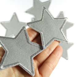 Iron-on silver stars metallic patches Set of 2 trouser patches made of organic cotton