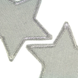 small star patches silver stars glitter iron-on patches 2 iron-on patches made of organic cotton
