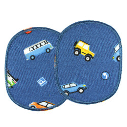 Knee patches with different cars to iron on 2 iron-on patches blue