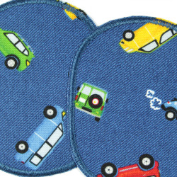 Patch kit car for children 2 patches printed in color on blue detail