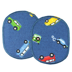 2 patches in the set Cars on blue to iron on trouser patches for children