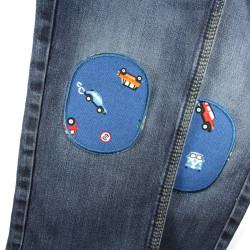 Iron-on patches with car motif for repairing trousers ideal for the knee 2 pieces