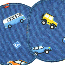 Two iron-on patches for colorful cars on a blue background in a set