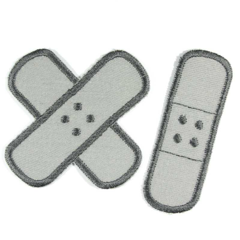 Flickli plaster iron-on patches gray organic jeans anthracite embroidered set small medium