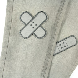 2 textile repair patches as iron-on patches, plaster gray for trousers to cover holes