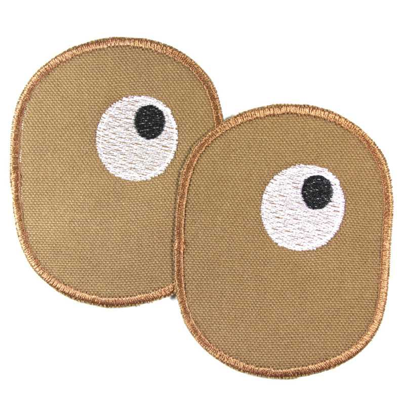Knee patches for children with embroidered eyes on brown iron-on trouser patches