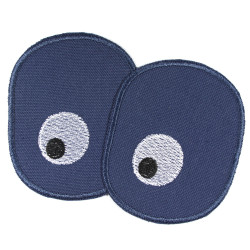 Trouser patches for children with embroidered eyes on blue knee patches to iron on