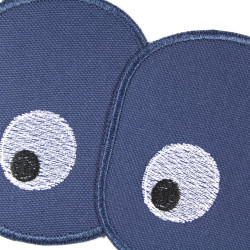 2 iron-ons in a set with eyes on blue organic cotton