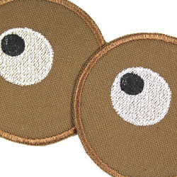 2 round knee patches to iron on with eyes motif for children