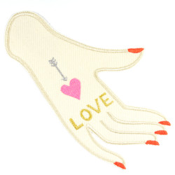 """Design embroidery motif hand """"LOVE"""" with metallic and neon colors embroidered as a large patch for adults"""