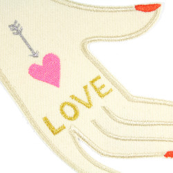 """Large iron-on hand """"LOVE"""" for adults to repair jackets or to personalize"""
