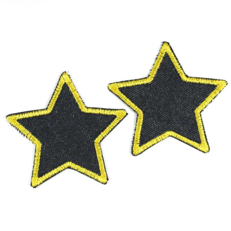 Iron-on patches set stars 2 patches organic blue jeans yellow edged 7cm trouser patches
