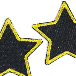 Iron-on set stars 2 patches organic jeans blue border yellow embroidered 7cm trouser patches