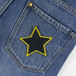Repair patches, set of 2 stars made of organic jeans yellow edged to cover small holes and stains