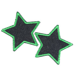 Green edged stars patches on blue organic jeans 2 small iron-on trouser patches in a 7cm set