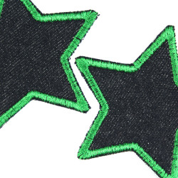 Iron-on patches set stars 2 patches organic blue jeans border green embroidered