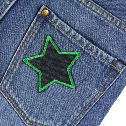 Iron-on repair patches 2 green framed stars made of organic jeans in a set ideally suited as trouser patches