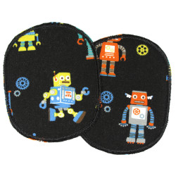 Knee patches to iron on robot between gears on black 2 iron-on patches